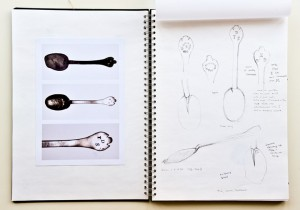 Observation drawings of trefid spoons