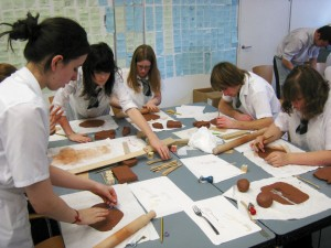 group working in clay