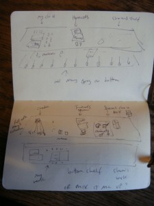 Quick sketches of ideas for cabinet.