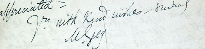 Mary Greg's signature on a letter