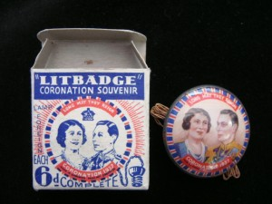Badge and packaging from 1937 Coronation