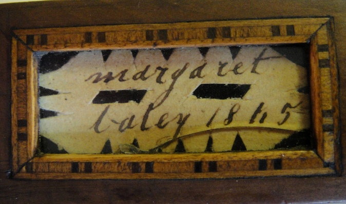 Inscribed wooden knitting needle holder, 'Margaret Baley 1845'
