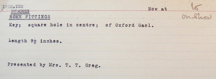 typed museum catalogue card